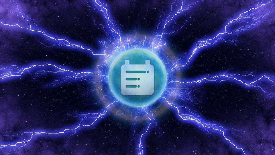 Isimio logo inside lightning ball