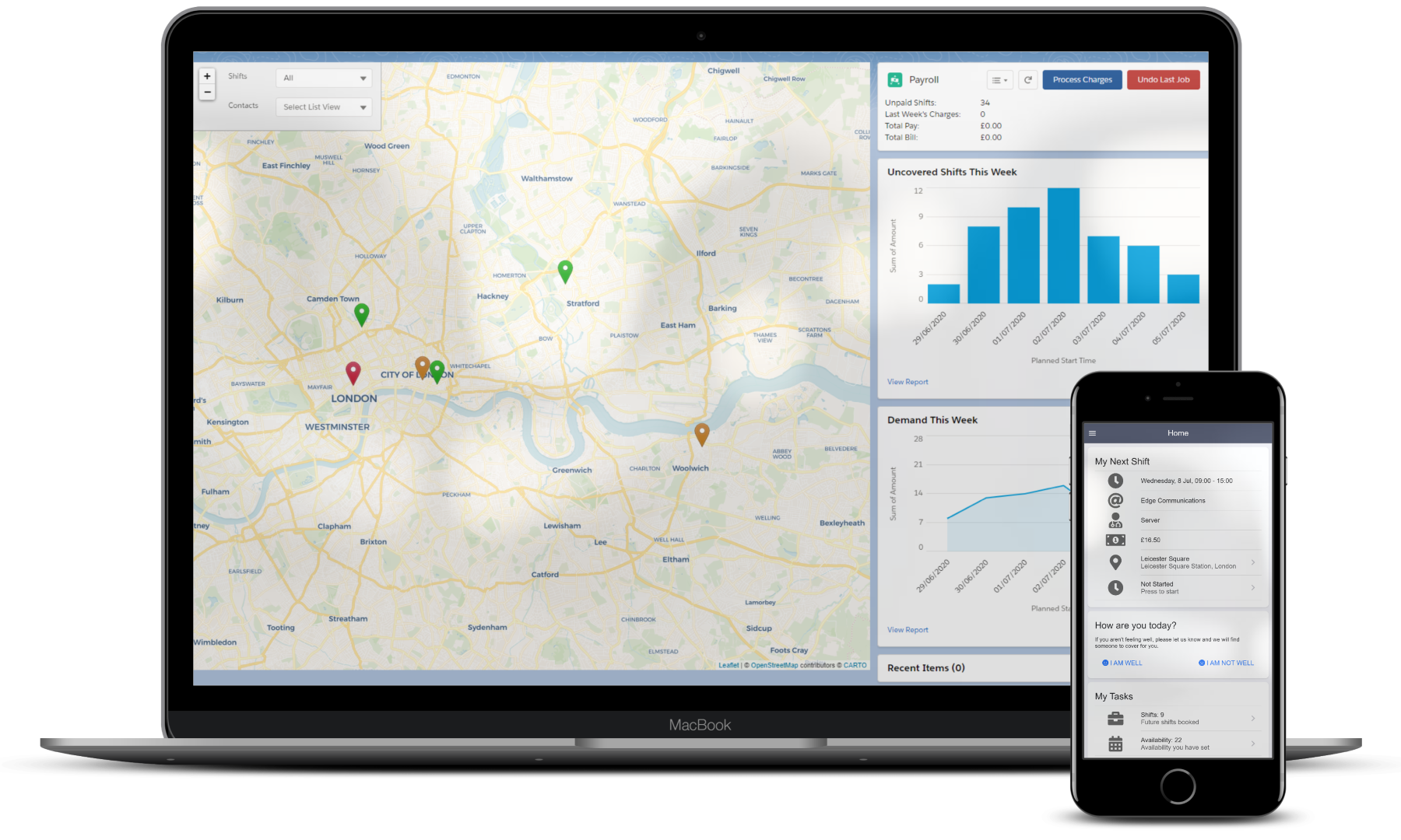 Screenshot of a map and mobile app from Isimio Staffing workforce management platform